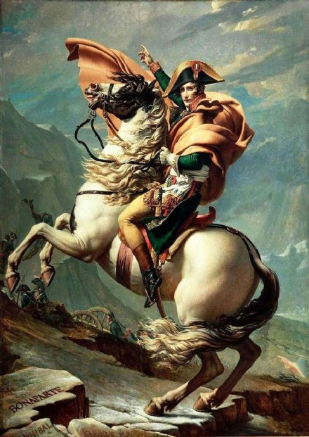 David, Jacques Louis: Napoleon (1769-1821) Crossing the Alps at the St Bernard Pass, 20th May 1800. Fine Art Print/Poster. Sizes: A4/A3/A2/A1 (001511)